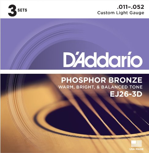 D'Addario EJ26-3D Phosphor Bronze Acoustic Guitar Strings, Custom Light, 11-52, 3 Sets Custom Acoustic Guitar