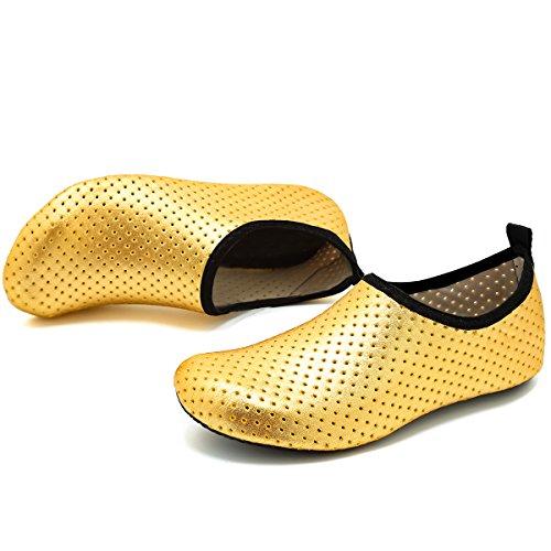 Vifuur Unisex Rask Tørking Aqua Vann Sko Basseng Stranden Yoga Trening Sko For Menn Kvinner Gull