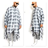 Draped Oversized BLue and White Long-Sleeve Check Flannel Shirt With Draped Hem