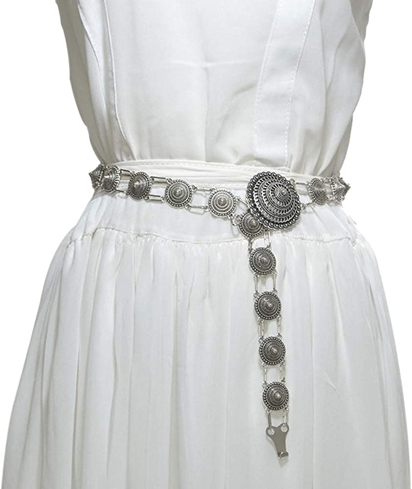 3 Alamana Vintage Color Flower Wide Metal Waistband Clothes Dress Decor Waist Belt Strap