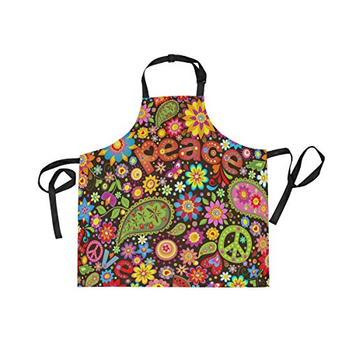 U Life Hippie Floral Flowers Music Peace Summer Spring Kitchen Apron for Women Men with Pockets Adjustable Neck Strap