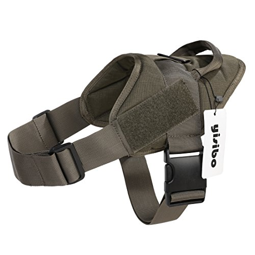 Yisibo Tactical Army Dog Adjustable Service Police Patrol Vest Training Molle Harness Cool Packs Vest Comfort Nylon for Pet Ranger Green L