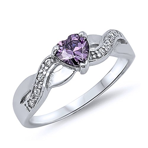 Sterling Silver Purple CZ Heart Promise Ring 5MM ( Size 4 to 10 )