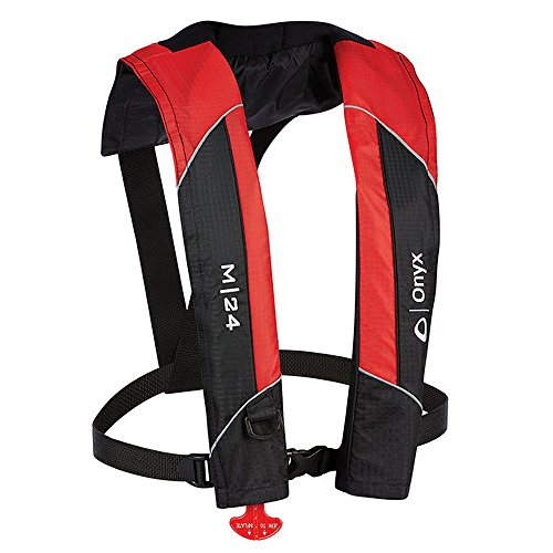 (1 - Onyx M-24 Manual Inflatable Life Jacket PFD - Red)