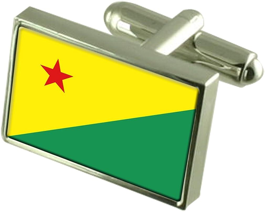 Acre Flag Cufflinks Personalised Engraved Keepsake Box
