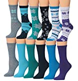 Tipi Toe Women's 12-Pairs Snowflake Patterned Colorful Crew Socks, Fits shoe size 5-9, WC10-AB