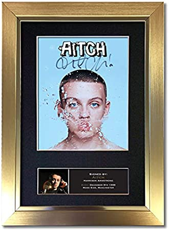 297 x 210mm Black Frame #820 AITCH Manchester Rapper Signed Autograph Mounted Photo Reproduction PRINT A4 Rare Perfect Birthday
