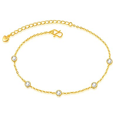 Onefeart 18k Gold Plated Anklet for Women Girls Round Zircon Foot Chain Adjustable 25CM Gold nNn8k