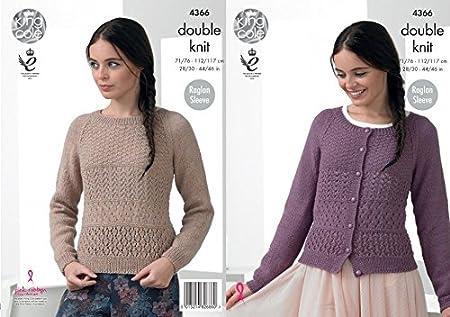 King Cole Ladies Raglan Sweater Cardigan Baby Alpaca Knitting