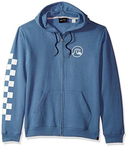 Quiksilver Men's Quik Check Zip Thru Hoody Pullover Sweatshirt, Moonlight Blue, M (Zip Hooded Sweatshirt Thru)