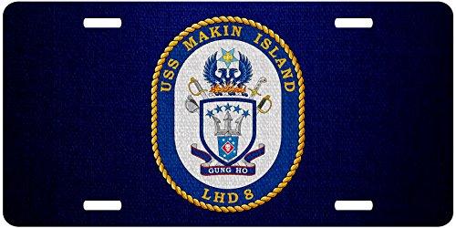 Premium Aluminum License Plate - U.S. Navy USS Makin Island (LHD-8), amphibious assault ship emblem (crest) ()