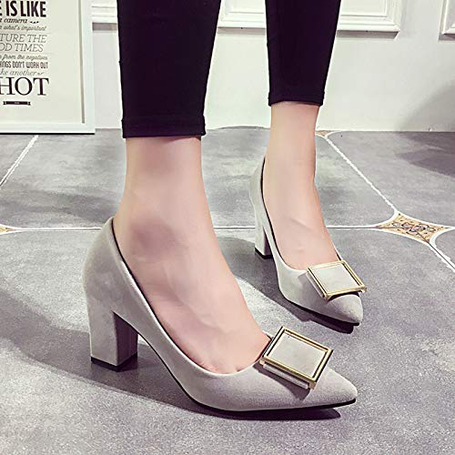 High Mouth Women'S Tacchi Female Thick Shallow Shoes Fashion Pointed With Gray Heels Pointed Suede Shoes alti Tide And Single Yukun XRwdgOxnqg