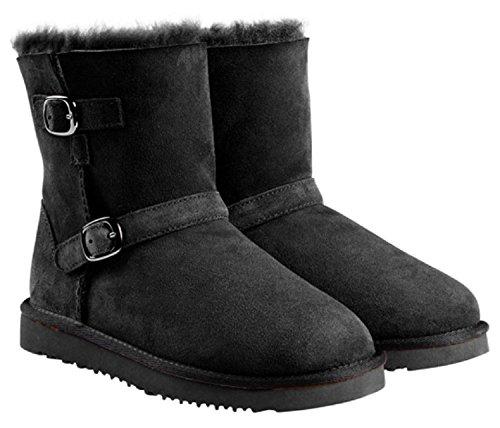 Kirkland Signature Womens Sheepskin Shearling Buckle Boots (9, Black)