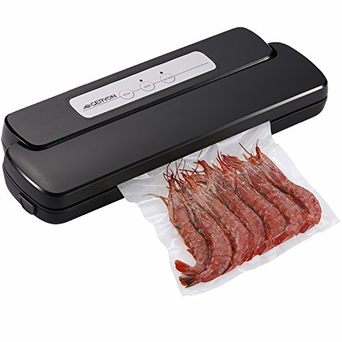 GERYON Vacuum Sealer Machine, Compact Automatic Vacuum Sealing System with Starter Kit of Saver Roll and Bags, Black - Sealing Machine