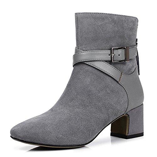 Nio Sju Mocka Kvinna Spetsiga Tå Chunky Klack Spänne Stil Handgjorda Boots Grå