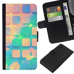 KLONGSHOP // Tirón de la caja Cartera de cuero con ranuras para tarjetas - Teal Espacio melocotón Estrellas Universo Patrón - Sony Xperia Z2 D6502 //