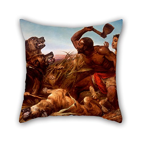Bestseason Oil Painting Richard Ansdell - The Hunted Slaves Throw Pillow Covers ,best For Him,adults,chair,home,dinning Room,kids Girls 16 X 16 Inches / 40 By 40 Cm(two Sides) (Bubble Wicker Chair)