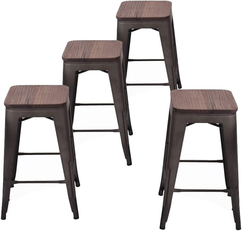 Andeworld Industrial Metal Bar Stools Counter Height Backless Barstools Stackable Set of 4 (26 Inch,Rusty with Wooden Top)