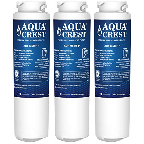 AQUACREST NSF 53&42 Replacement MSWF Refrigerator Water Filter, Compatible with GE MSWF SmartWater 101821B 101820A (Pack of 3)