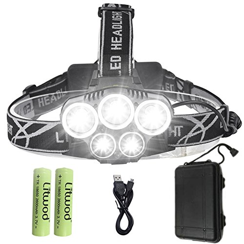 Cheap Litwod Super Bright LED Headlamp Headlight Waterproof High Lumen Head Lamp 6 Modes Headlights, with 18650 Rechargeable Batteries & USB Cable,for Climbing Camping Walking cycling