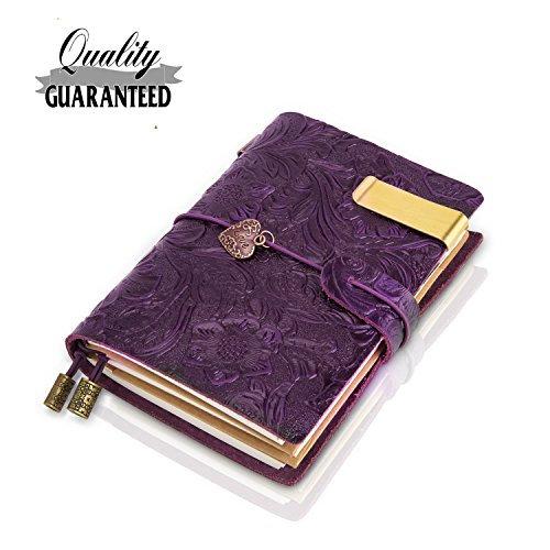 Travelers Notebook Leather Small Journal Traveler Notebook,Flowers Embossed Vintage Notebook, Gift for Men & Women, Perfect to Write in,5.3