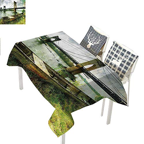 WilliamsDecor Apartment Decor Clear Tablecloth Bridge and Old Boat on Riverside Distressed Paint Style Nostalgic City Retro PictureGreen Grey Rectangular Tablecloth W52 xL70 inch