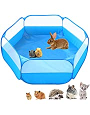 Small Animals C&C Cage Tent, Breathable & Transparent Pet Playpen Pop Open Outdoor/ Indoor Exercise Fence, Portable Yard Fence for Guinea Pig, Rabbits, Hamster, Chinchillas and Hedgehogs
