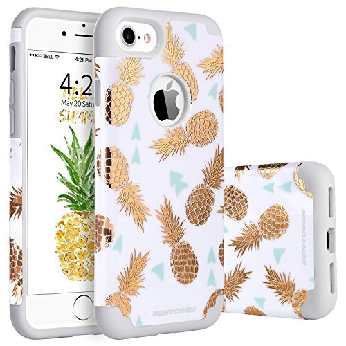 Design Silicone Protective Case - iPhone 8 Case, Pineapple iPhone 7 Case, BENTOBEN Ultra Slim Gold Pineapple Design Hard PC Soft Rubber Silicone Glossy Anti-Scratch Shock Proof Protective Case Cover for iPhone 8/7 4.7 Inch, White/Gold