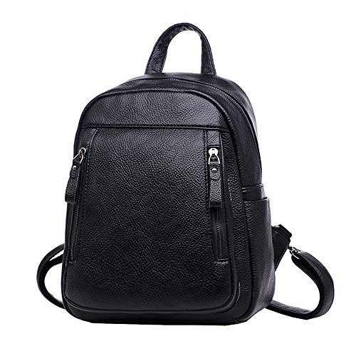 Black Voyage Femmes Pu Collège Sac Daypack Mode De à Cuir Portable Bandoulière Dames Dos à De Sac Grand Sac Ordinateur à Zippered Dos En rH5qwBgH