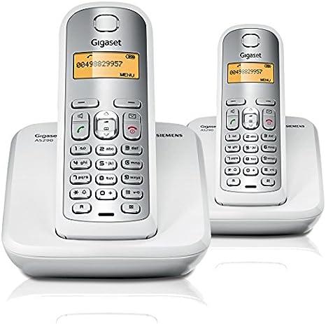 Gigaset AS290 Dúo - Teléfono inalámbrico, agenda telefónica de 80 entradas, 10 melodías de tonos de llamada, color blanco y gris: Amazon.es: Electrónica