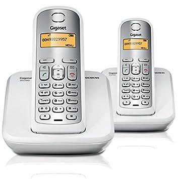 Gigaset AS290 Dúo - Teléfono inalámbrico, agenda telefónica de 80 entradas, 10 melodías de tonos de llamada, color blanco y gris