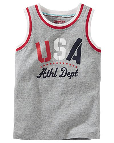 OshKosh B'gosh Boys' USA Tank Top (10 Kids, Grey) (Osh Kosh Cami)