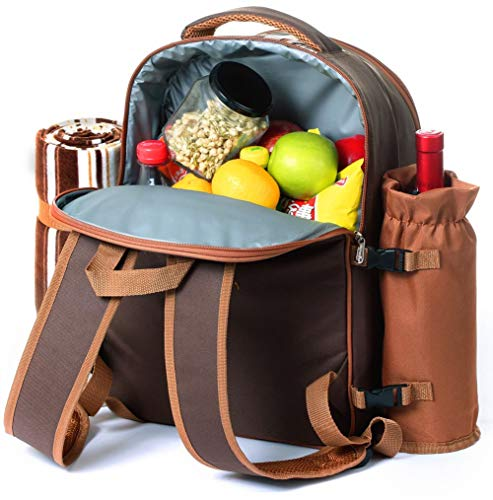Picnic Backpack Bag for 4 Person With Cooler Compartment, Detachable Bottle/Wine Holder, Fleece Blanket, Plates and…