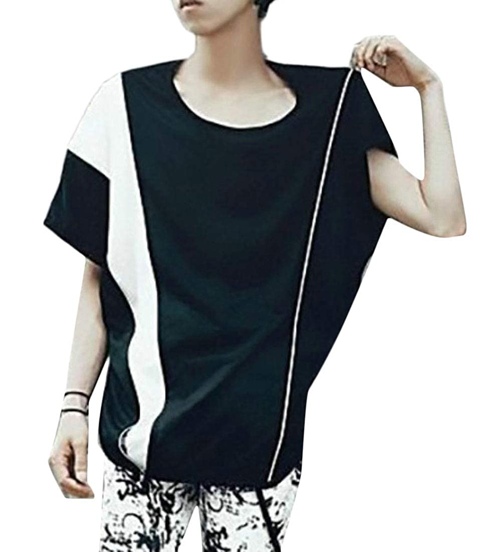pipigo Mens Round Neck Dolman Sleeve Reversible Contrast Color Tee Shirts
