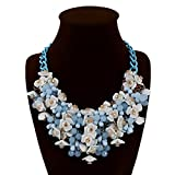 HoBST Blue Flower Statement Necklace Fashion Bubble Bib Collar Chain Choker Necklaces for Women