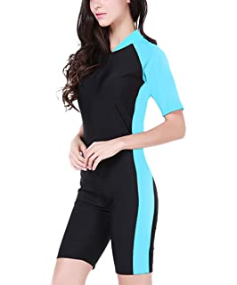7b680e85dd InMoo Surfing Suit Women Short Sleeve One Piece Swimwear Sun Protection Wetsuit  Diving
