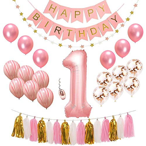 First Birthday Decorations Set for Girl | 1st Baby Kit Includes Pink Number 1 Balloon, 1 Happy Birthday Banner, Star Garland, Party Tassels, 6 Pearl Pink, 6 Marble Pink & 6 Gold Confetti Balloons