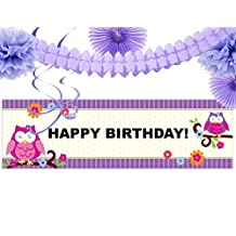 Owl Blossom Party Supplies - Birthday Party Banner Decoration Kit