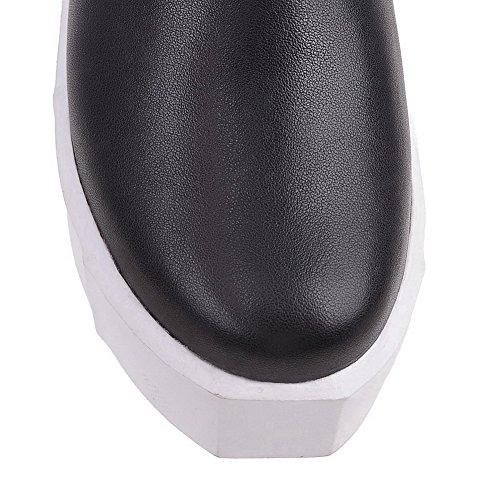 Allhqfashion Womens Low-top Pull-on In Morbido Materiale Gattini Tacco Tondo Stivali Chiusi Neri
