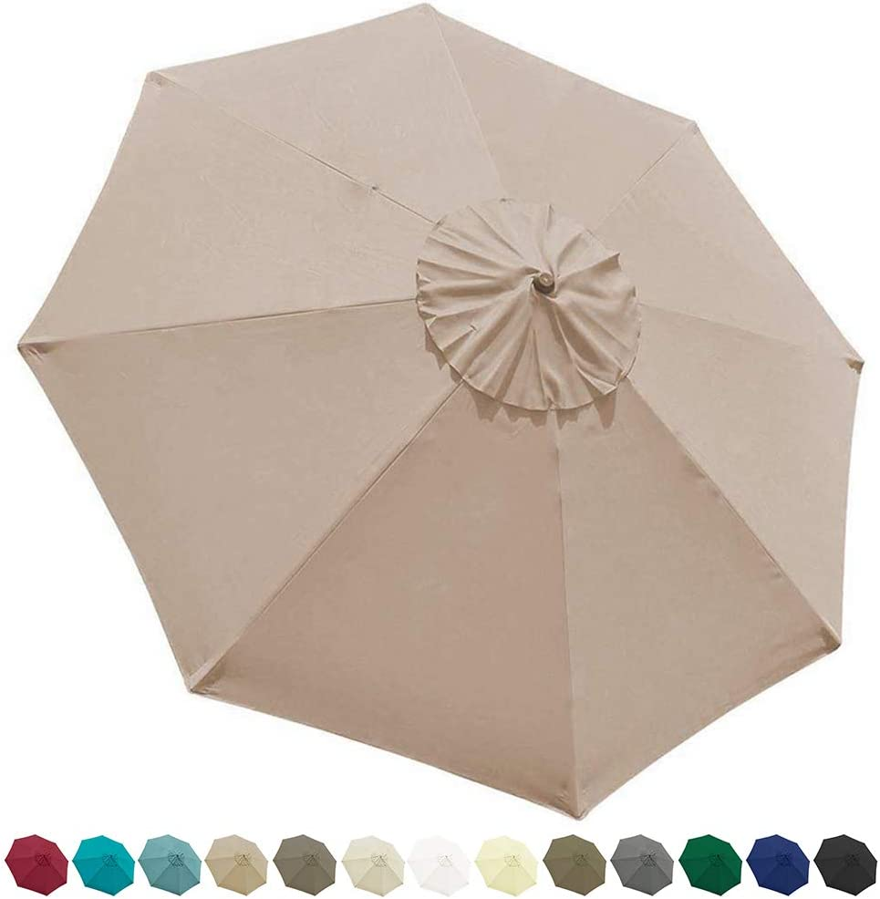 EliteShade 9ft Patio Umbrella Market Table Outdoor Deck Umbrella Replacement Canopy Beige