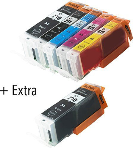 6 Pack Compatible Sherman Ink Cartridge Replacement for PGI-270XL CLI-271XL 1 Black,1 Cyan,1 Magenta,1 Yellow, 2 Big BK Printer Pixma MG6821, MG6822, MG5720, MG5722, MG5721,TS5020, TS8020 271 270 XL Photo #3