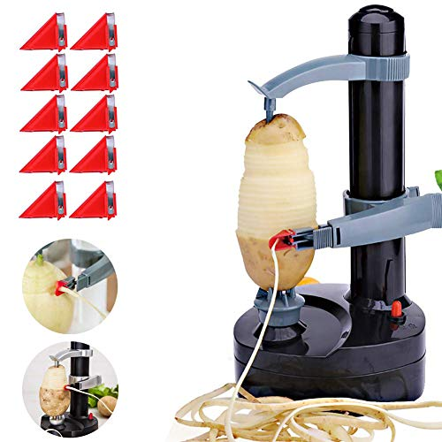 Electric Rotato Peeler with 10 Replacement Blades Kitchen Automatic Rotating Peeling Tool for Fruit & Vegetable Yoruii