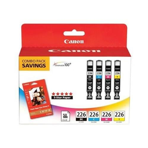 Canon 4546B007 OEM Ink - (CLI-226) iP4820 MG5220 MG5120 MG6120 MG8120 MX882 iX6520 iP4920 MG5320 Photo Color Ink Tank Multipack With 50 Sheets of Photo Paper (Includes OEM# 4546B001 4547B001 4548B001 4549B001)