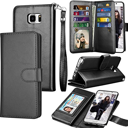 Tekcoo Compatible for Galaxy Note 5 Wallet Case/Samsung Galaxy Note 5 PU Leather Case, Luxury Cash Credit Card Slots Holder Carrying Flip Cover [Detachable Magnetic Hard Case] & Kickstand -Black