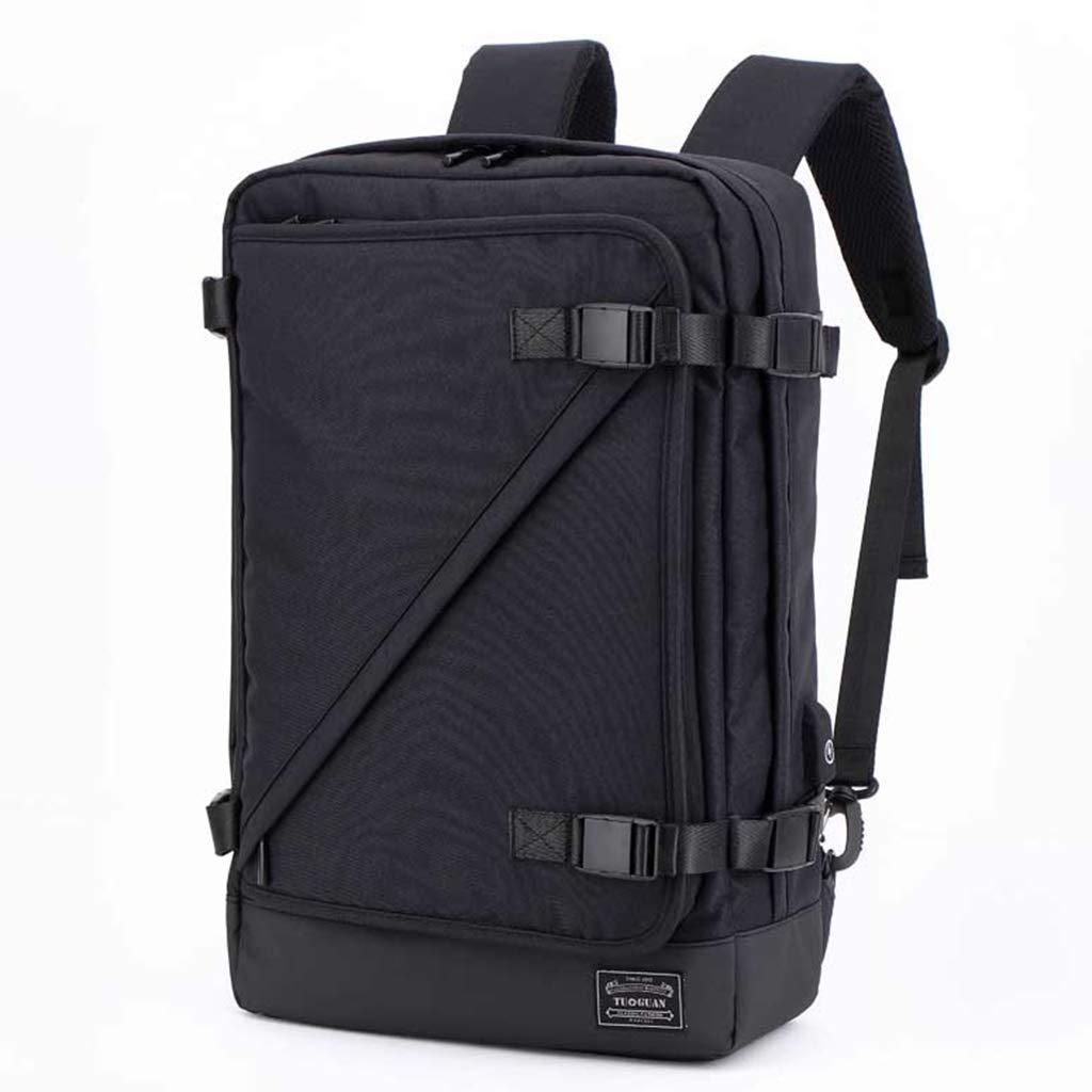 アウトドアレジャーバックパック、USB充電バックパック、出張、大容量、多機能防水と耐衝撃のラップトップバッグ48 * 31 * 12.5 cm、ブラック、グレーオプション (色 : 黒)  黒 B07P6KCRH9