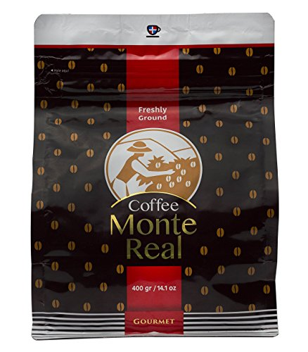 Monte Real mr-400 Gourmet Arabica Coffee - Dominican Premium Ground Roasted w/ delicious Dominican Cacao Flavor, 400 gr