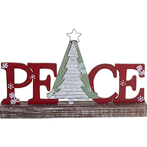 festive wood and metal holiday standing sign christmas decoration peace