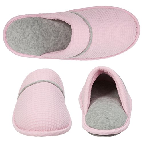 Memory and Pink Padded Slipper Ons Rubber Insole Women's with Fresh Sole Knit Slip Closed Foam Scuff Waffle Dearfoams Toe PUSq6fz