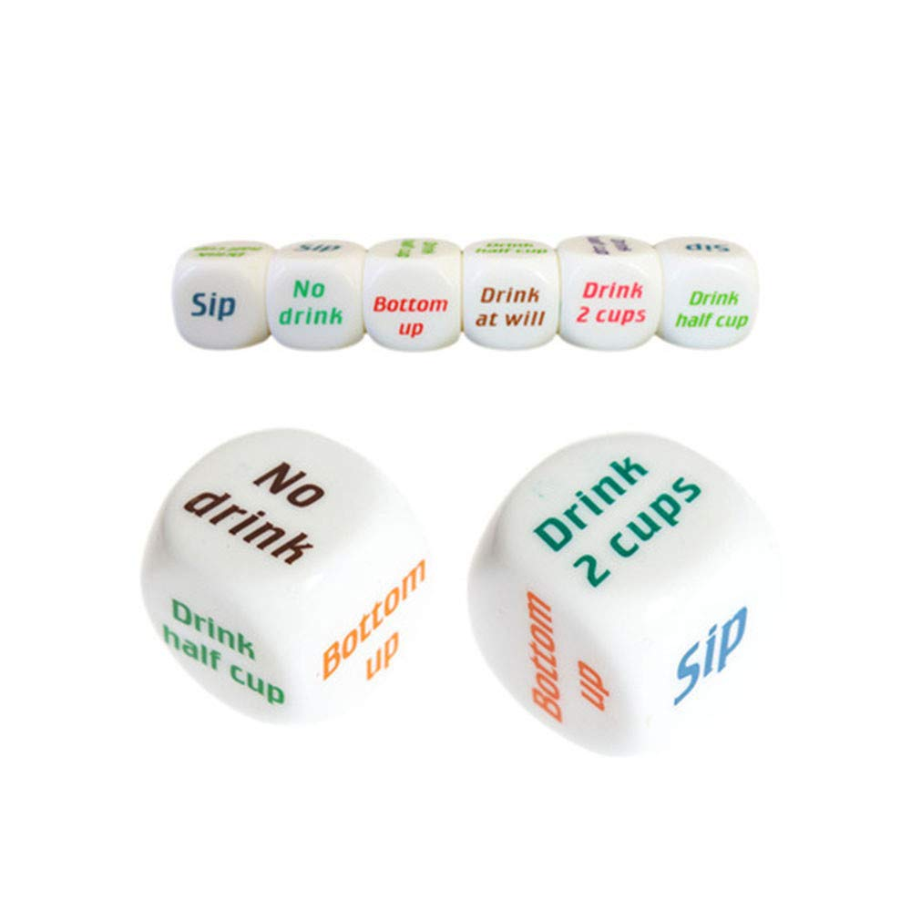 FakMe 1PCS Color Printing Dice Drinkers\' Wager Game Dice Great for Families Games/Birthday/Evening Party/Friends Dinner/Gifts (1\'\', Color)