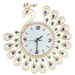 Clearance Sale!DEESEE(TM)Vintage Style Peacock Antique Wall Clock for Home Kitchen Office (Gold)